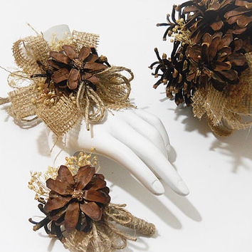 Rustic Pinecone & Burlap Wrist Corsage and/or Boutonniere, Rustic, Country, Bohemian, Woodland, Style Weddings. Made to Order.
