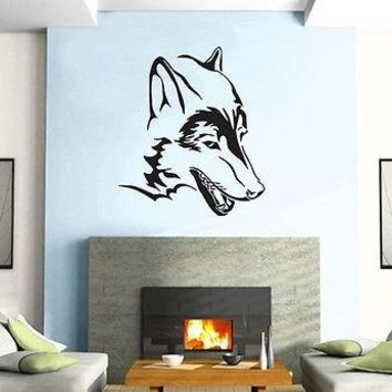 Wolf Head Predator  Animal  Decor Mural Wall Art Decor Vinyl Sticker Unique Gift z384