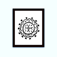 tribal mandala flower, black and white, southwestern boho, printable wall art, native american, Aztec, geometric decor, distressed bohemian