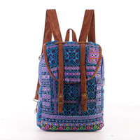 Small Exotic Blue Backpack Vintage Traditional Hand Stitched Textile