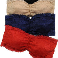 Lace Bandeau Bra For Tank Tops and Dresses Colorful and Sexy BOHO style Perfect for Spring and Summer Beach Styles and Everyday wear
