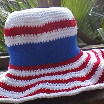 Patriotic 4th of July Sunhat with cotton and sparkle metallic yarn