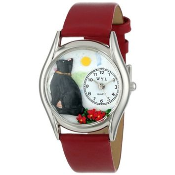 SheilaShrubs.com: Women's Basking Cat Yellow Leather Watch S-0120009 by Whimsical Watches: Watches