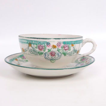 Antique Nippon Tea Cup Saucer Japan Egg Shell China Hand Painted Turquoise Pink Floral Design Asian Flower Design
