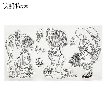 KiWarm Vintage Girls Flower Transparent Sheet Seal Craft Clear Rubber Stamp For Scrapbooking Note Diary Card DIY Supplies