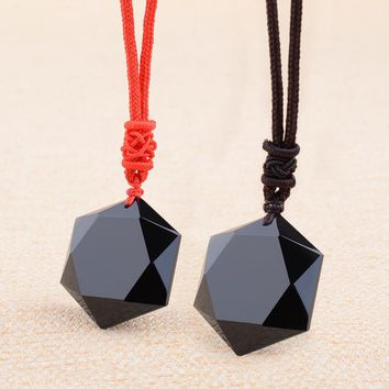 Natural Black Obsidian energy stone six-pointed star Pendant crystal  Carved  Pendant Necklace women Men  lovers Jades Jewelry