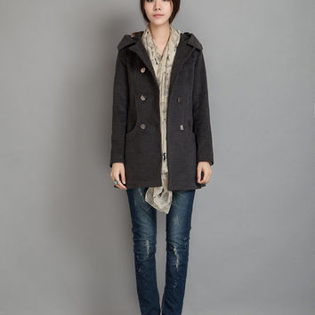 Women's Winter Coat Jacket Wool Outerwear Hooded Long Cape Woolen Jacket  -WH175 M,L,XL,XXL