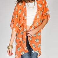 Full Tilt Daisy Womens Kimono Peach  In Sizes