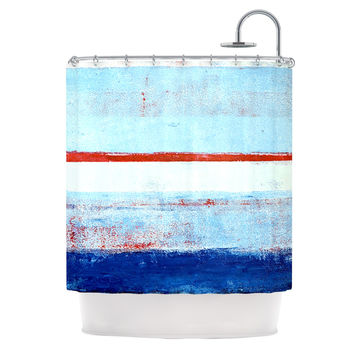 "CarolLynn Tice ""Stripes"" Blue White Shower Curtain"