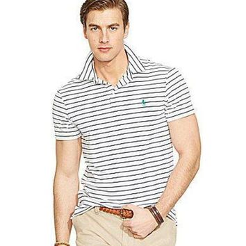 Polo Ralph Lauren Striped Performance Polo Shirt - Sporting Royal/Pure