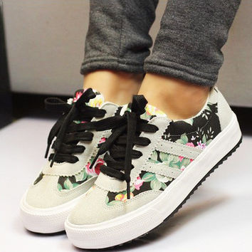 Women shoes 2016 Casual shoes 35-41 plus size fashion printed Canvas shoes woman