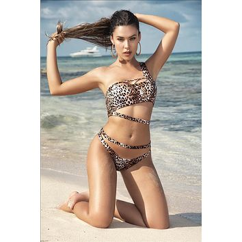Asymmetrical Hot Leopard Print Two Piece Swimsuit