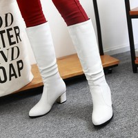Womens White Boots  Spring Pointed Toe Square Heel Slip-on Long