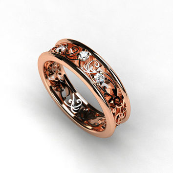 Rose gold filigree ring with diamonds, rose gold engagement ring, filigree wedding ring, diamond wedding band, unique, red gold ring, custom