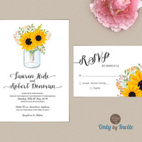 Mason Jar Wedding Invitation and RSVP Card Kit Printed | Sunflower country shabby chic woodsy wedding invitations | Free shipping
