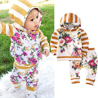 Princess Kids Baby Girl Clothes Set Hooded Sweatshirt Floral Tops Hoodies Pants Leggings 2pcs Clothing Girls Outfits Set