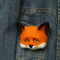 Felt Wool Fox Brooches MADE TO ORDER Felt Fox Animal  Brooch Handmade Felted Brooch Fox Needle felted Fox Animals