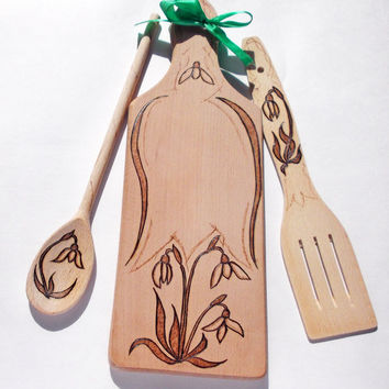 Hostess Gift, Set mothers day gift, Utensil Set, Wooden, Spatula, Spoon, Chopping board, Completely Handmade, Burned on Wood, FREE Shipping!