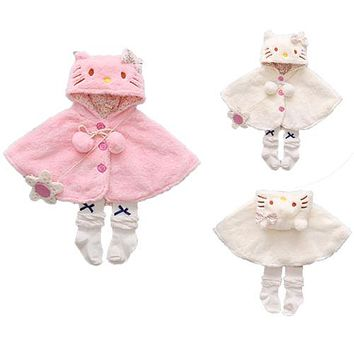 Pudcoco Infant Baby Cat Hooded Cloak Poncho Jacket Outwear Warm Coat Clothes Snowsuit 0-24M