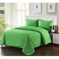 Tache 3-4 Piece Cotton Solid Spring Green Comforter Set With Zipper (3-4PCOM-W/Zip-Green-CK)