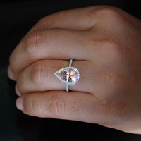 Pear Morganite Engagement Ring Morganite Wedding Ring in 14k White Gold with Morganite 12x8mm and Diamond Halo Ring