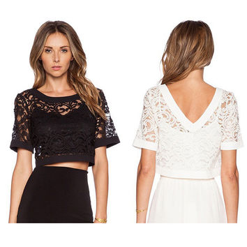 New Fashion Women Lace Top Short Sleeve O-neck Crochet Mesh Princess Smock Shirt Ladies T-shirt Blusas Femininas woman clothes