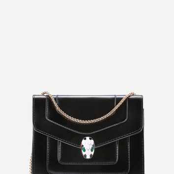 Snake Head Detail Crossbody Bag With Chain BLACK