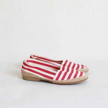Vintage 60s Red Striped Canvas Espadrilles | Women's 6.5