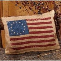 Early American 13 Star National Flag - Americana Burlap Accent Throw Pillow - 9-in x 7-in
