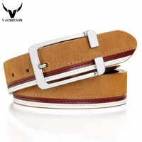 VACHECUIR Designer belts men high quality cowskin Suede luxury genuine leather belts for men,strap metal pin buckle mens belt
