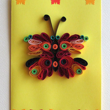 Quilling Card With Quilled Butterfly, Butterfly Greeting Card, Yellow Quilled Birthday Card
