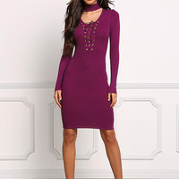 Burgundy Choker Lace Up Plunge Bodycon Dress
