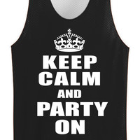Keep calm and party on mesh jersey