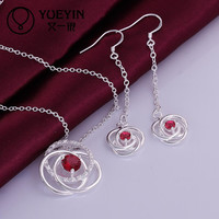 Silver Earrings and Necklace Ruby Cubic Zircon Stone