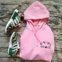 GUCCI : Champion flower rose print sweater grey hoodie pullover Pink