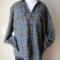 Boyfriend Gift Plaid Shirt WOOL Vintage GAP Grunge Mens Brown Blue Winter Small