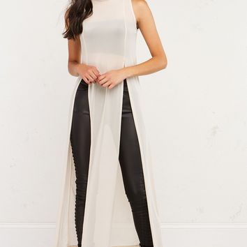 High Slit Mesh Dress