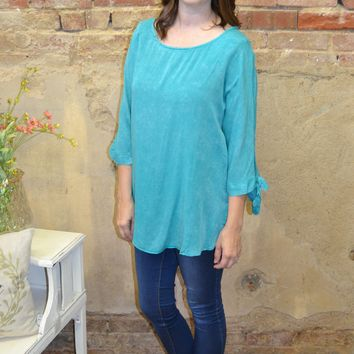 Half Full Slit Shoulder Top: Jade
