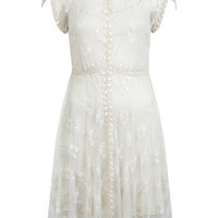 Lace Embellished Mini Dress - Dresses  - Apparel