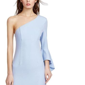 One Shoulder Party Dress Women Blue Elegant Princess Seam Mini Dresses Flare Sleeve Zip Sexy Dress
