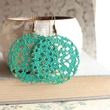 Filigree Earrings, Teal Green, Turquoise, Teal Dangle Earrings, Lace Lacy Pattern, Spring, Patina Jewelry, Boho Chic, Long Earrings