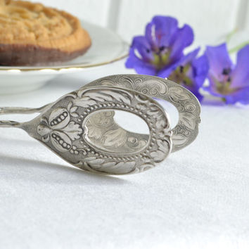 Sweet pastry, cookie and sandwich serving tongs, vintage Swedish silver plate server