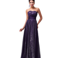 Shimmering Long Purple Women's Formal Dress - Bridesmaids - Prom - Party - Brides & Bridesmaids - Wedding, Bridal, Prom, Formal Gown