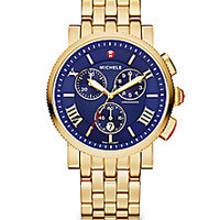 Michele Watches - Sport Sail 18K Goldplated Stainless Steel Large Chronograph Bracelet Watch - Saks Fifth Avenue Mobile