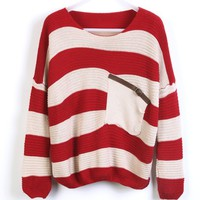 Thick striped shirt bat loose pullover knitted fake pocket BABHDC from Eternal