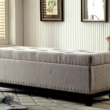 Randi collection beige fabric upholstered tufted top rectangular ottoman storage foot stool