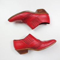 Size 7.5 Red leather cowboy ankle boots/ Chelsea boots/ southwestern boots/ red ankle boots/ size 7.5