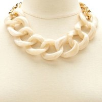 2-Tone Chain Link Necklace by Charlotte Russe - Ivory