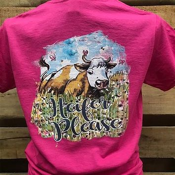 Southern Chics Heifer Please Cow Girlie Bright T Shirt