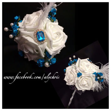 Deep Turquoise & White Rose  Brooch Toss, Flowergirl Small Bouquet, Center Piece